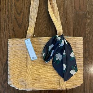 Straw Bag with Floral Scarf
